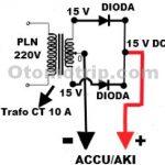 Gambar rangkaian charger aki menggunakan trafo CT