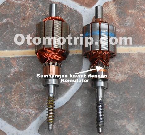 Perbaiki sambungan kawat dan komutator longgar