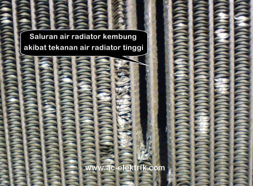 Radiator rusak akibat tekanan terlalu tinggi