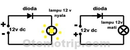cara menguji fungsi dioda menggunakan lampu pijar 12 volt