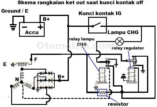 Prinsip kerja ket out atau regulator mekanik alternator mobil gambar skema rangkaian ketout saat kunci kontak off asfbconference2016 Image collections