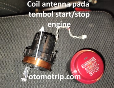 gambar coil antenna didalam tombol start stop engine honda jazz rs